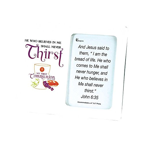 My First Communion John 6:35 White 7 x 8.5 Porcelain Photo Frame
