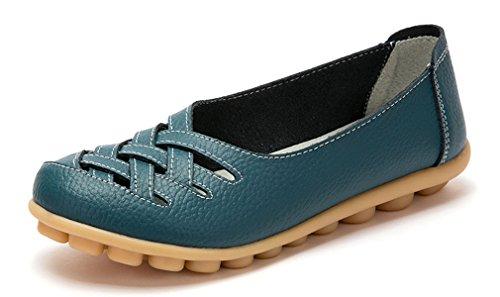 KEESKY Damen Leder Casual Ausgeschnitten Loafers Flache Slip-On Schuhe Blau