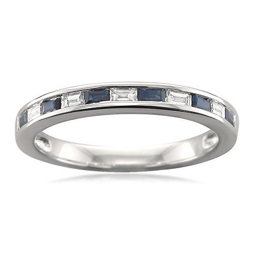 14k White Gold Baguette Diamond & Blue Sapphire Bridal Wedding Band Ring (1/2 cttw, H-I, SI1-SI2), Size 5.5