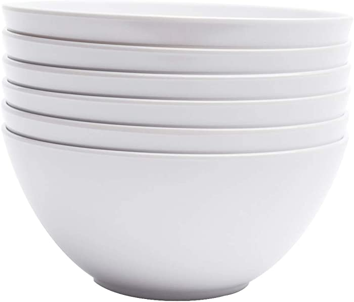 Yinshine Melamine Cereal Bowls - 28oz White Dinnerware Soup Bowls Set, Pack of 6