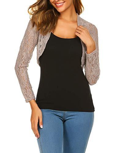 - Grabsa Women's 3 4 Sleeve Lace Shrugs Bolero Cardigan Crochet Sheer Crop Jacket Grey