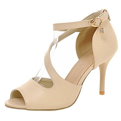 RAZAMAZA Mujer Moda Correa de tobillo Tacon Alto Sandalias Peep Toe Tacon de Aguja Zapatos Beige