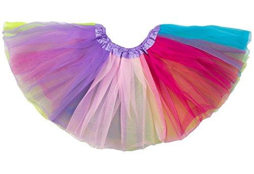 [Dancina Tutu Little Girl's Cute Multi Color Classic Tulle Running 5k Race Skirt 2-7 years Rainbow] (Kids Tutu)