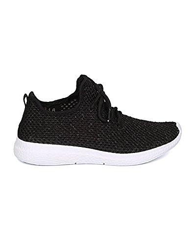 Damesstof Gebreide Jogger - Casual, Oefening, Actief - Lichtgewicht Lace-up Sneaker - Gf09 By Cape Robbin - Zwart (maat: 5.0)