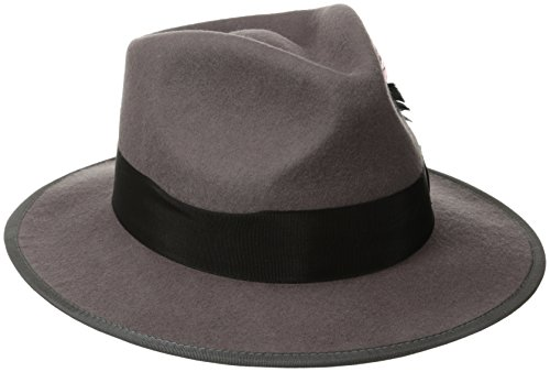 Scala Classico Men's Wool Felt Snap Brim Fedora, Grey, X-Large (Leather Scala)