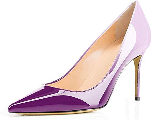 (Ayercony Pumps for Woman, Kitten Heel Pumps Slip on high Heel Pointed Toe Shoes for Dress Office Purple Beige Size 10 US)