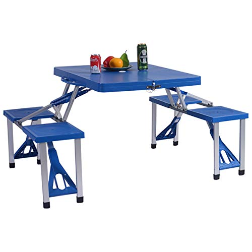 GYMAX Picnic Table, Portable Folding Camping Table Bench Set for Camping Hiking, with 4 Seats