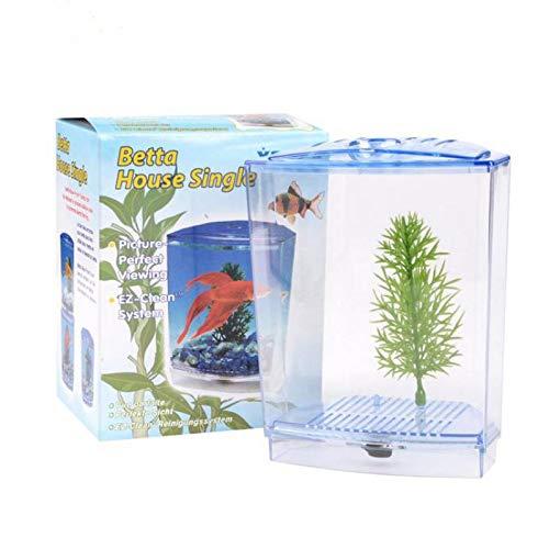 Pukido Acrylic Aquarium Single Betta Fish Bowl Fighting Fish Tank Small Aquarium Hatchery Box for Hatching Breeding Guppy Fish Reptile - (Color:, Size: S)