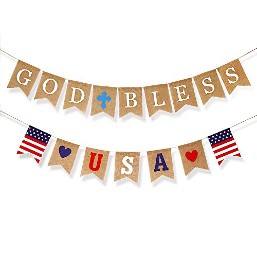 Independence Day Decorations Party Banner 4th of July Party Supplies - God Bless USA American Flag Party Decorations Burlap Bunting Banner - Red White Star and Blue Theme for Patriotic Day Memorial Day Veterans Day