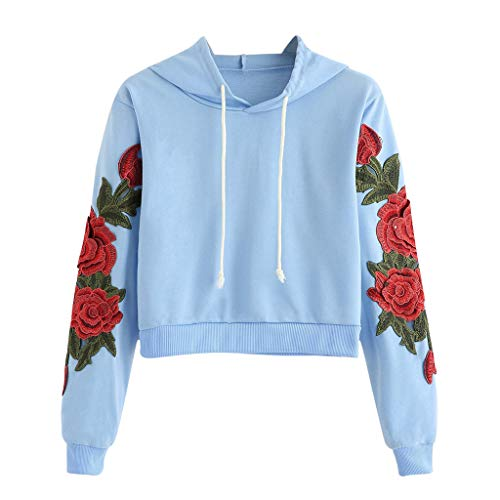 Shusuen Women's Floral Embroidered Hoodie Crop Top Sweatshirt