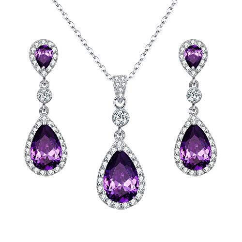 (EleQueen 925 Sterling Silver Full Cubic Zirconia Teardrop Bridal Pendant Necklace Dangle Earrings Set Amethyst Color)