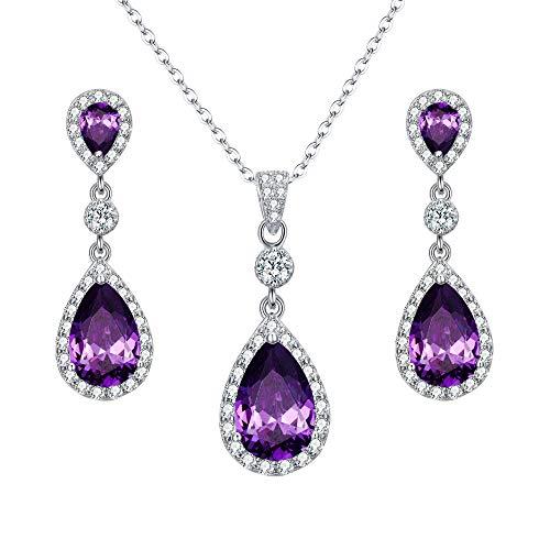 EleQueen 925 Sterling Silver Full Cubic Zirconia Teardrop Bridal Pendant Necklace Dangle Earrings Set Amethyst Color