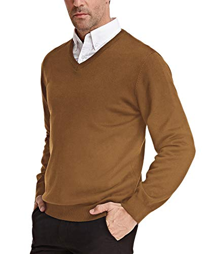 - PAUL JONES Men's V-Neck Pullover Sweater Basic Long Sleeve Knitting Sweater Coffee