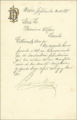 President Porfirio Diaz (Mexico) Manuscript Letter Signed 09/29/1895