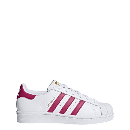 adidas Originals Superstar Foundation J Casual Basketball-Inspired Low-Cut Sneaker (Big Kid), White/Pink/White, 5 M US Big Kid