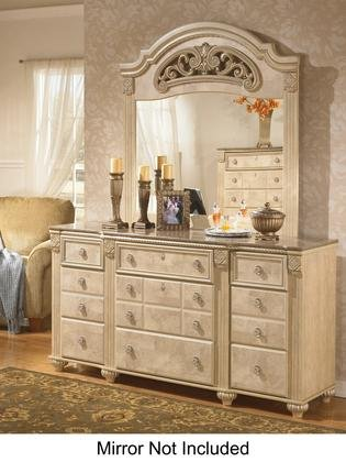Old World Light Opulent Finish Saveaha Bedroom Dresser With Faux Marble Top