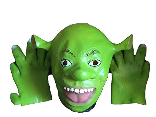 Full Head Eco-Friendly Latex Shrek Mask with Gloves Halloween Carnival Christmas Masquerade Cosplay Costumes Props Party - Shrek Latex
