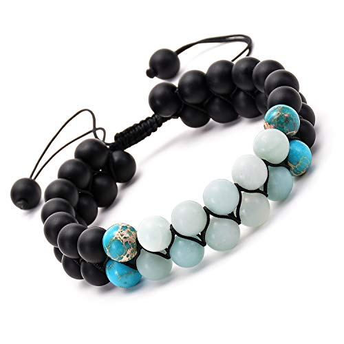 Adjustable Braided Rope 2 Layers Link Bracelet Durable Double Free Size Knot Yoga Beads Bangle in 8mm Natural Stones Blue Jade Turquoise Black Matte
