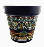 Mexican Talavera Planter Ceramic Flower Pot Folk Art Pottery Garden Handmade # 10