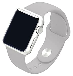 Piwjo Silicone Apple Watch Band and Replacement Iwatch Bands Series 1, Series 2,Series 3(Clouds Gray, 38mm S/M)