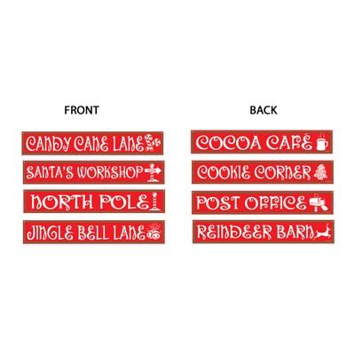 - Beistle 4-Pack North Pole Street Sign Cutouts, 4-Inch by 24-Inch