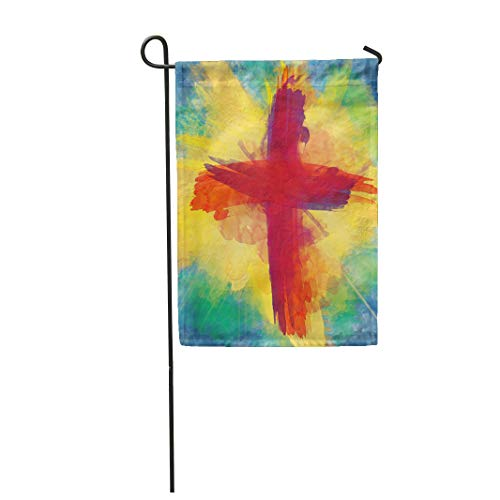 Semtomn Garden Flag 28x40 Inches Print On Two Side Polyester Cross of Bloody Red on Bursting Light Rays Abstract Artistic Lent Easter Christi Home Yard Farm Fade Resistant Outdoor House Decor Flag -