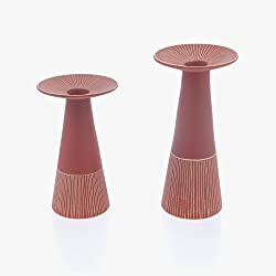 "Candle Holder Set Round Base Taper Pillar Ceramic Handmade, Red 20cm (7.9"")"
