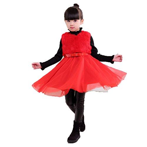[Novatx Sleeveless Winter Dress for Girls (120cm, red)] (Farmers Dress Up Costumes)