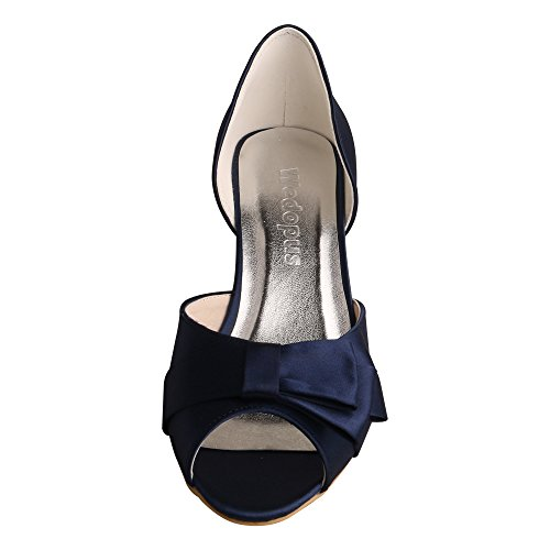 Wedopus MW556 Women Open Toe Low Heels Bow Prom Satin Evening Party Bridal Court Shoes Navy hN5CbgIf1