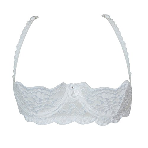 Shirley of Hollywood Shimmer Lace Bra - 38 - White
