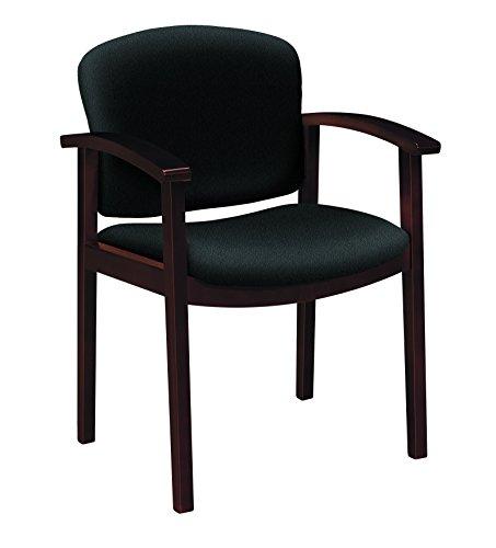- HON 2111 Single Rail Arm Mahogany Guest Chairs, Black