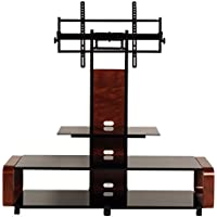 TransDeco TD685DB TV Stand For 35-85 TV , Dark Oak/Black