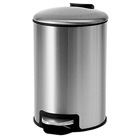 Amazoncom Waste Bins Small Round Household Pedal Stainless Steel