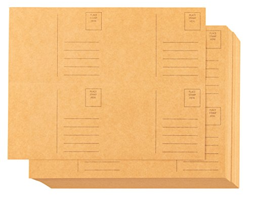 Blank Postcards - 100-Sheet Kraft Postcards, Self Mailer Mailing Side Postcards, 4 Per Page 400 Postcards in Total, Perforated, 4 x 6 Inches