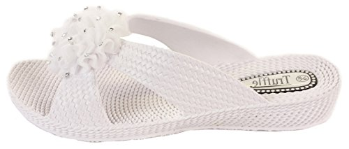 Shoes Sandals Style Bow Jelly Size Summer Shoefashionista Toe Infradito Ladies Bianco 2 Diamante Post Flat qqvzBwSx