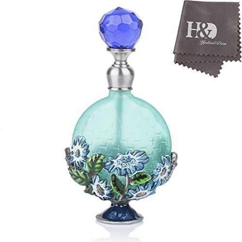 - YUFENG Vintage Magical Green Flower Refillable Empty Crystal Perfume Bottle Handmade Home Decor Lady Wedding Gift
