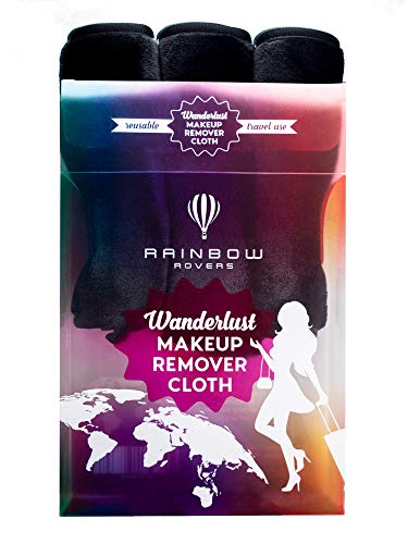 RAINBOW ROVERS Set of 3 Makeup Remover Cloths | Reusable & Ultra-fine Makeup Wipes | Suitable for All Skin Types | Removes Makeup with Water | Free Bonus Waterproof Travel Bag | Classic Black
