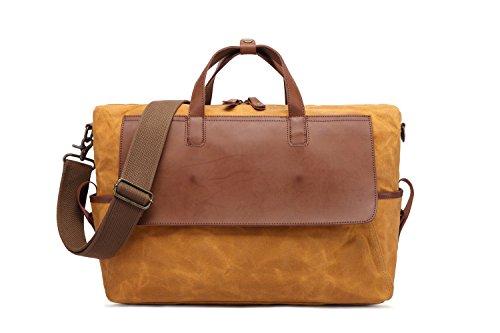 Computadora Hombre Impermeable Aceite Viaje De Lona Retro Capacidad Gran Bolso Orange Bags RZwT0fpqf