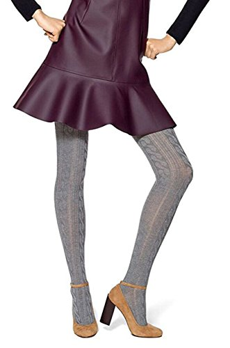 Hue Women's Bold Cable Sweater Tights, Grey Charcoal, Medium/Large