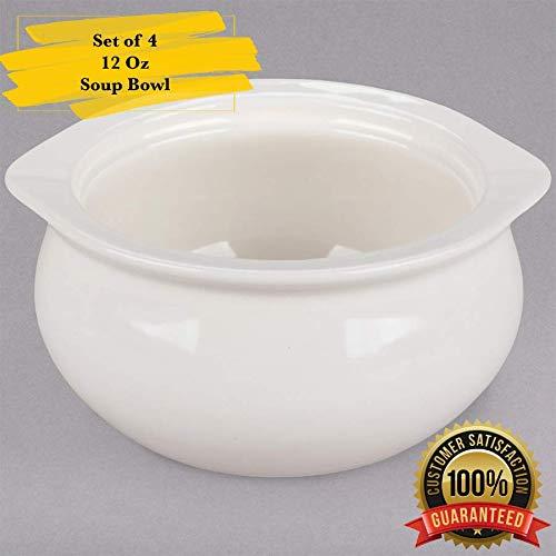 Onion White Soup - MM Foodservice 12-Ounce Porcelain Ceramic Onion Soup Crock Bowl, Set of 4 (White)