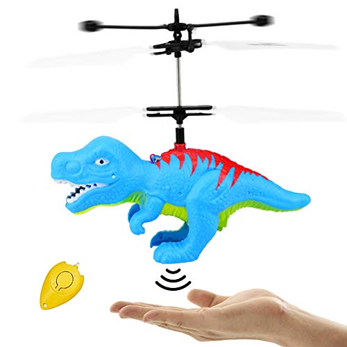 (Flying Ball Dinosaur Toys, RC Kids Dinosaur Toy Infrared Induction LED Light Up Drone Helicopter Shining Colorful Flying Toys Indoor and Outdoor Games for 6 7 8 9 10 11 12 13 14 Year Old Boys Girls )