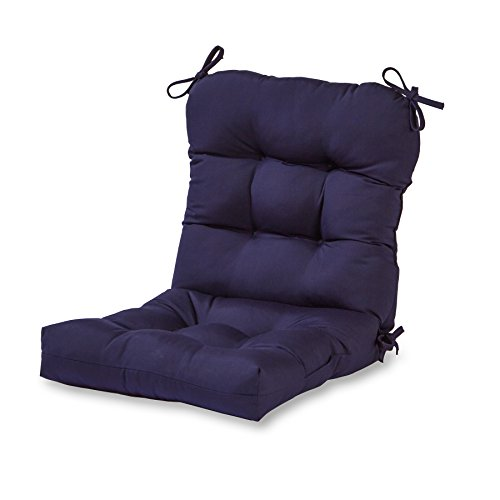 Greendale Home Fashions Outdoor Seat/Back Chair Cushion, Navy (High Chairs Back Lawn Plastic)