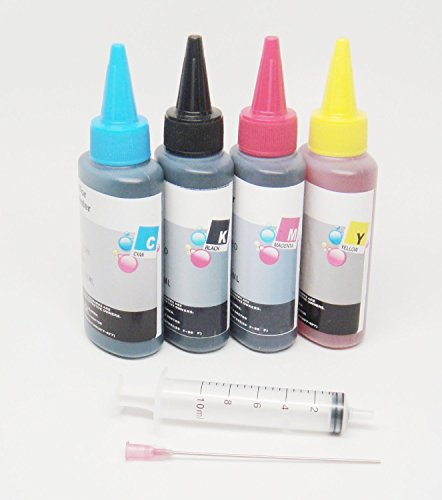 OPT® Brand. 4X100ml Premium Refill Dye Ink for Epson Workforce WF-3620 WF-3640 WF-7110 WF-7610 WF-7620 WF-7110 CISS T252 252XL 252 And Refillable Ink Cartridges