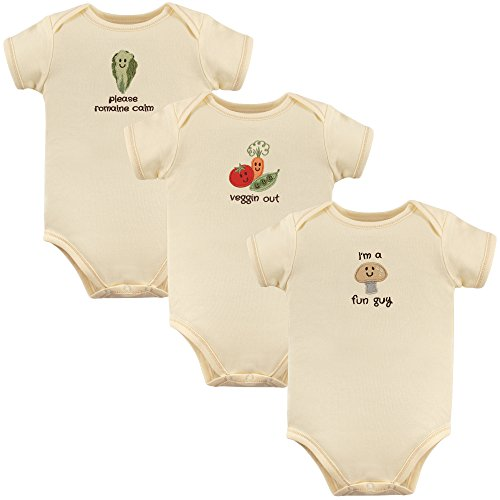 (Touched by Nature Unisex Baby Organic Cotton Bodysuits, Fun Guy 3-Pack, 3-6 Months (6M))