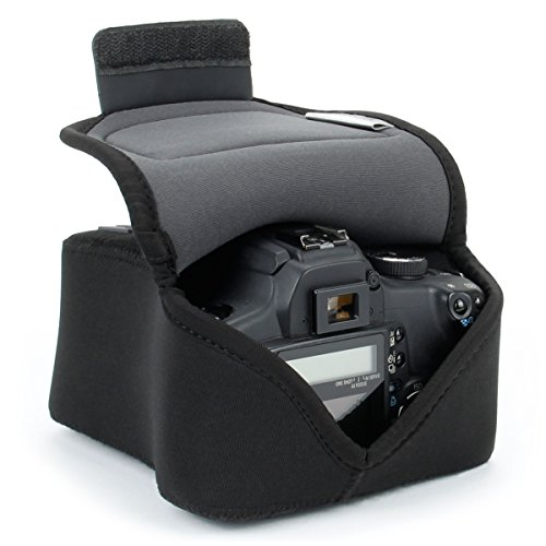 USA Gear DSLR Camera Case / SLR Camera Sleeve (Black) with Neoprene Protection , Holster Belt Loop and Accessory Storage by USA Gear - Works With Nikon D3400 / Canon ()