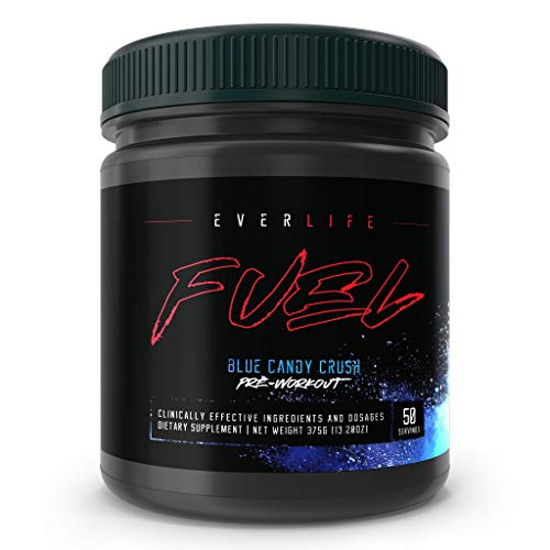 EVERLIFE Fuel XL Pre-Workout Gaming Fuel Powder – Natural Energy, Mood, Focus, Strength and Endurance, Blue Candy Crush,50 Servings