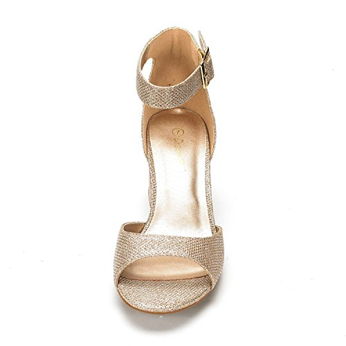 DREAM PAIRS Womens CHUNKLE Low Heel Pump Sandals Gold Glitter e20Iz