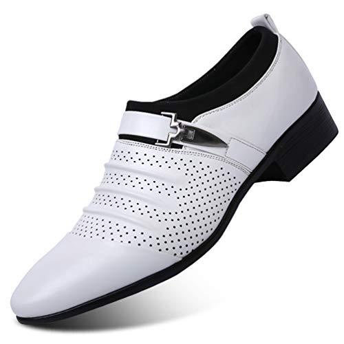 hacia Zapatos para Cuero Hombres Zapatos Blanco Hueco De Formales Hombre Huecos Oxford Los Fuera Boda vUEqx4w0q