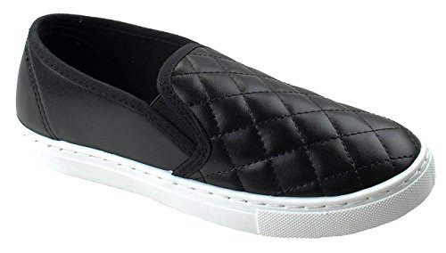 Anna Women's Slick Ligh Weight Comfort Slip On Quilted Fashion Sneakers,Black,9 by Anna Home Collection (Image #1)