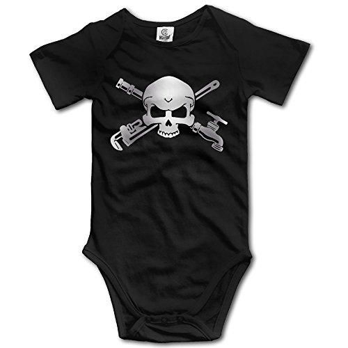 Plumber Skull Cross Wrenche Platinum Style Baby Sleeveless Romper Jumpsuit Black